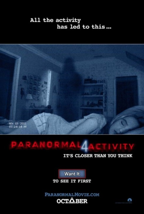 Paranormal Activity 4 Horror Movie Poster
